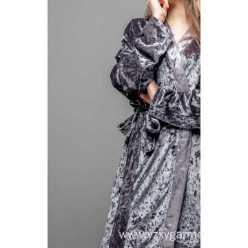 Grey island fleece with satin pajama set