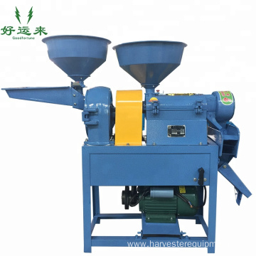 Roller-type mobile combine rice mill machine