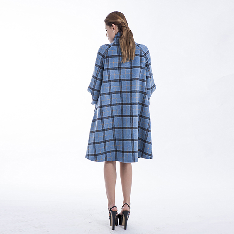 Stylish Plaid Blue Cashmere Winter