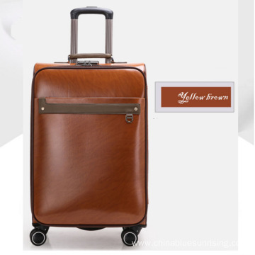 Blue business men travelling PU luggage with wheels