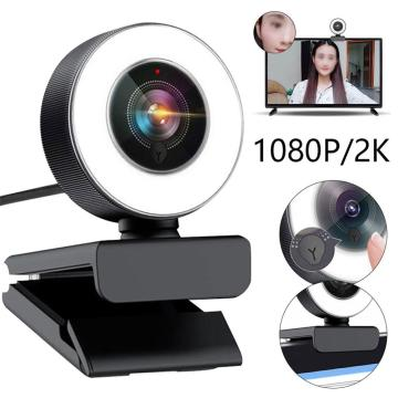 2MP HD 1080P Webcam Auto Focus with Mic PC Camera 2K Webcam with Ring Light Web Cam for Computer PC Skype OBS Steam Web Camera