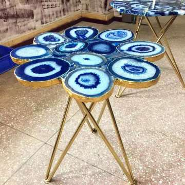 blue agate side table top