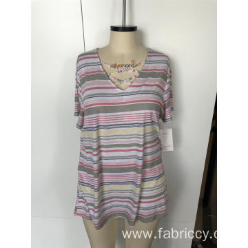 Plus-size striped short sleeves for women