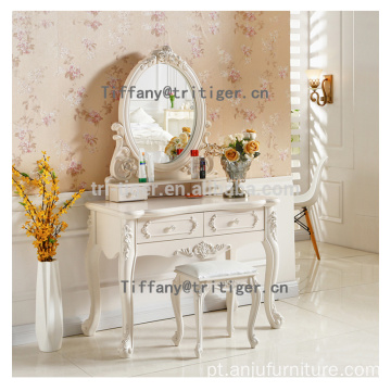 White brown color dresser table mirror solid wood dresser