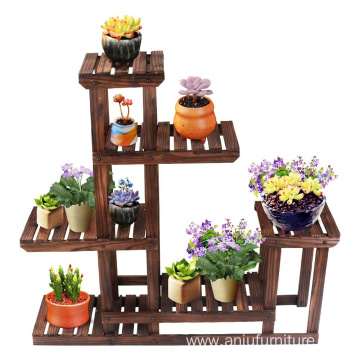 Wooden Plant Stands Flower Rack Plant Stand Multifunctional Wood Shelves Storage Rack Bookshelf W/Hollow-Out Rack Bonsai Display