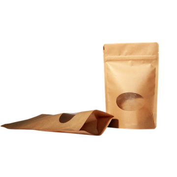 Paper Stand Up Pouch with Window and Zipper