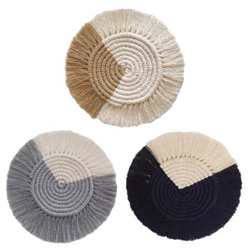 100% Cotton Weave The Cup Mat INS Style Nordic Coaster Handwoven Heat Insulation Reusable Cup Pad Mat For Home Office Restaurant