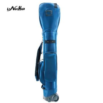 Longchao Waterproof Custom Logo Blue Color Golf bags Nylon & Mirror PU Golf Bag With Wheels