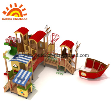 Wooden slide and swing set for toddlers