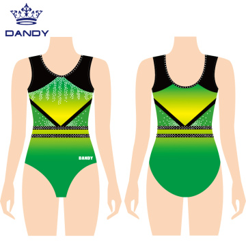 Fashionable Girls Gymnastics Suits With Breathable Mesh