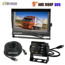 "9"" IPS HD SD DVR Recording 4Pin 2CH Split Car Rear View Monitor + Waterproof AHD 1080P Reversing Backup Camera For Bus Truck Kit"