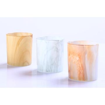 Wholesale Different Size Onyx Marble Color Effect Glass Candle Jar
