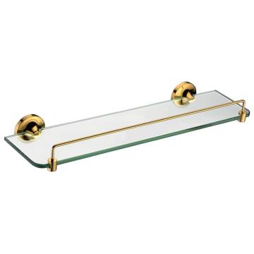 Golden glass shelf single with rail for bathroom