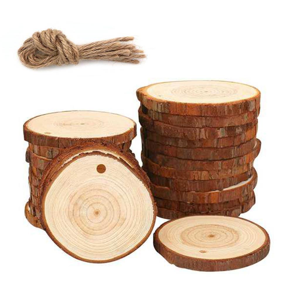 1 pack Blank Christmas Xmas Tree Wood Log Slices Discs Cutout Circle Wood Disks diy craft decorations Accessories art graffiti