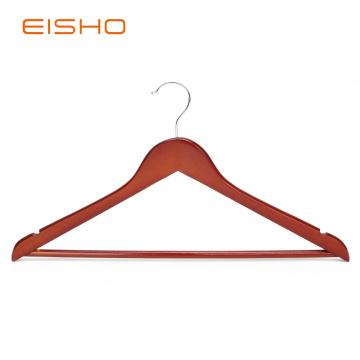 EISHO Brown Flat Wood Suit Hangers With Bar