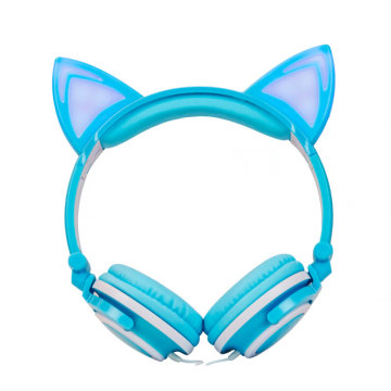 Macaron glow headphones with cat ears