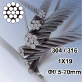 1X19 Dia.0.5mm to 20mm stainless steel strand