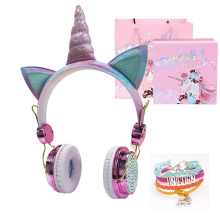 Funny Kids Headset Colorful Diamond Unicorn Headphones Girls Music Helmet Wired Earphones With Gifts Box Christmas Brithday