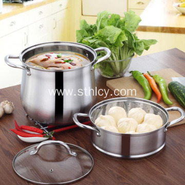 Stainless Steel Heightening Double Bottom Home Sauce Pot