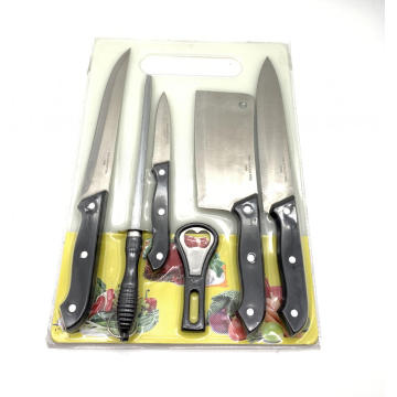 7pcs plastic handle kitchen knife board set