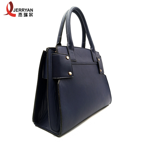 Blue Big Leather Work Tote Bag With Zip