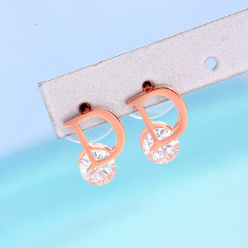 Personalized white zircon initial stud earrings