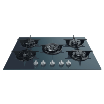 Slim Gas Hobs Indesit Black Glass Top