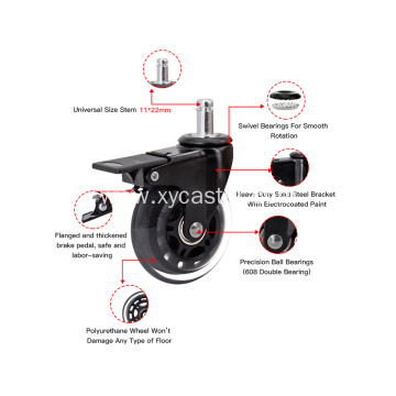 Office Chair Wheels 3 inch Brake