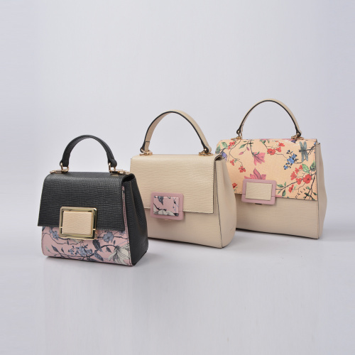 Flower Printed 100% Genuine Female Daily Tote Bag