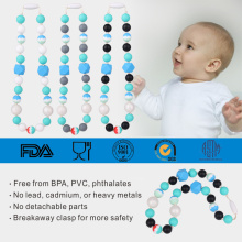 Food grade silicone teething beaded necklace