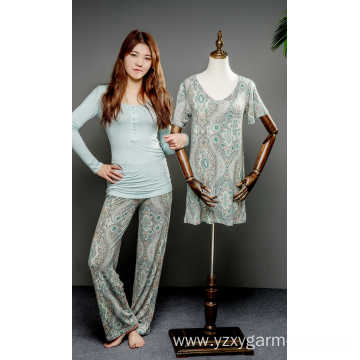 Flower print viscose pajama set and nightdress