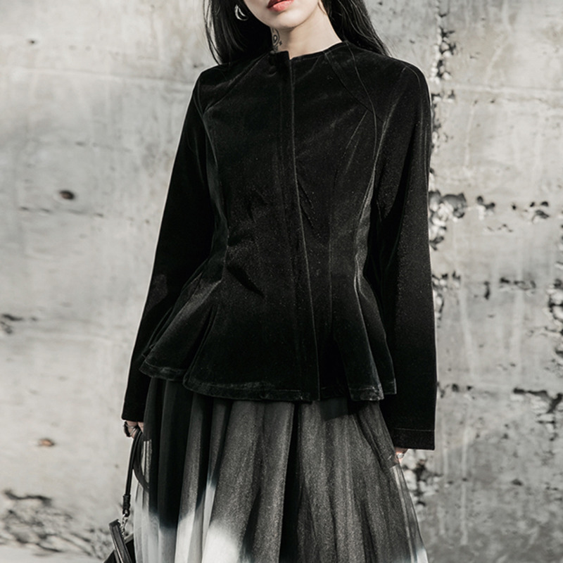 XUXI 2020 Women Coat Simple Black Velvet Truffle Apart From Temperament Of The Coat, The New O Collar Sleeve Long Gown FZ0885