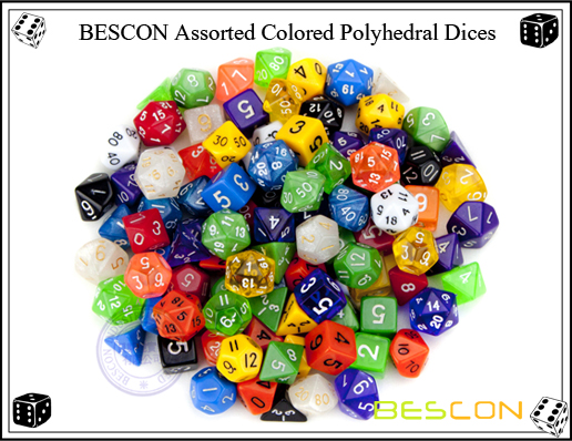 BESCON Assorted Colored Polyhedral Dices