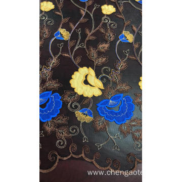 Yellow and Blue Flowers Mesh Embroider Fabric