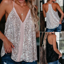 Women V Neck Loose Sleeveless Vest Tanks Camis Lady Sexy Sequin Cocktail Vest Tops Tops Tees