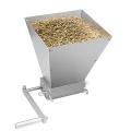 Malt Barley Crusher Stainless Steel 2 Roller Malt Mill Homebrew Grain Grinder 7lb Hopper Adjustable Manual Mill With Wooden Base