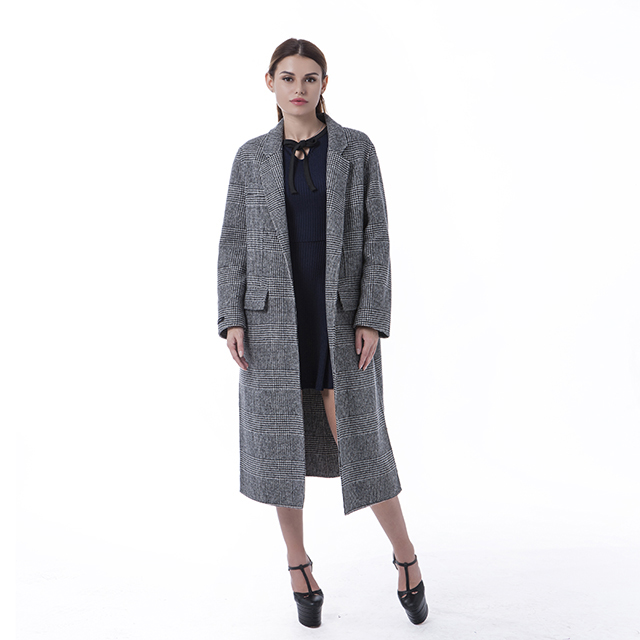 Grey striped cashmere overcoat