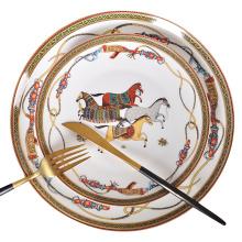 Luxury War Horse Bone China Dinnerware Set Royal Feast Jingdezhen Porcelain Western Plate Dish Home Decoration Wedding Gifts