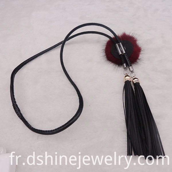 statement necklace, long fringe necklace, leather fringe necklace