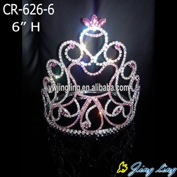 Rhinestone pink colored angel shape pageant crowns