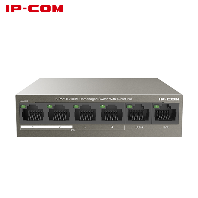 IPCOM F1106P-4-63W 6 Port Poe Ethernet Network Switch 10/100Mpbs Lan Hub 4 Port Poe Power Switch Injector For Ip Camera