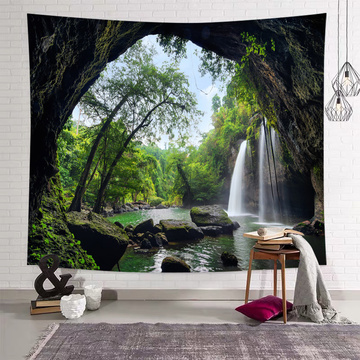 Cave Tapestry Wall Hanging Forest Stone Waterfall Green Nature Wall Tapestry for Livingroom Bedroom Dorm Home Decor