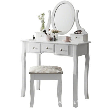Bedroom chic dressing table with mirror wooden drawer stool