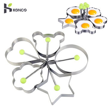 Kitchen Gadget Fried Egg Mold Stainless Steel Frying Mould Pancake Ring Egg Tool Star Love Flower Round Shape Egg Kitchen Tool