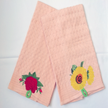 Waffle check kitchen towels with embroidery