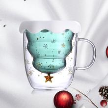 2021 Creative Christmas Mug High Temperature Glass Cup Christmas Tree Star Cup Double-layer Insulation Glass Christmas Gift