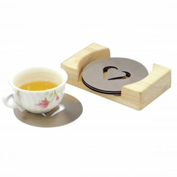 coaster with wooden holder set/4