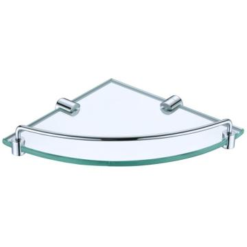 Corner glass shelf with rail and holder chrome