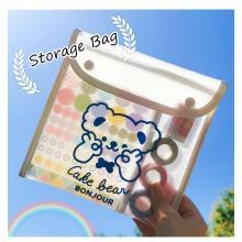 MINKYS Large Capacity PVC Bear Portable Pencil Bag Cute Pencilcase Desktop Storage Bag 20CM Kawaii School Stationery Gift