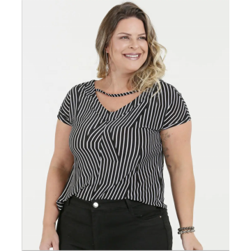 Printed Stripe Plus Size Tops and Blouse